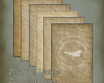 Polka Dot Vintage Papers Printable Digital Download
