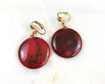 Vintage Red Marble Bakelite Clip on Earrings