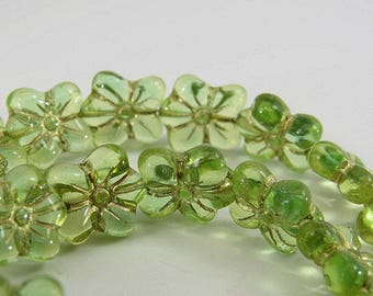 Czech Lime Green Puffy Dainty Flower Beads Gold Picasso Glaze 12 x 14MM Transparent Forget Me Not Lovely Pressed Glass 10,Beads PREDAINTY018