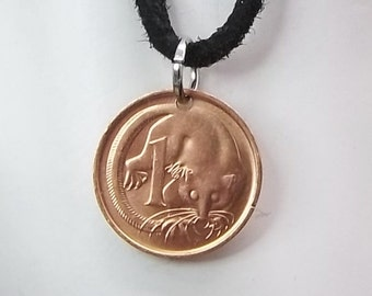 Possum Coin Necklace, Australian 1 Cent, Coin Pendant, Men's Necklace, Women's Necklace, Bronze Coin, Ball Chain, 1983