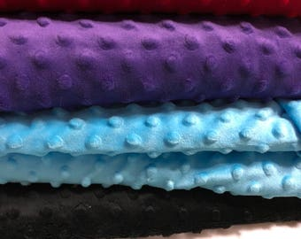 Minky soft fabric  5 peices white, black, light blue, purple  and red