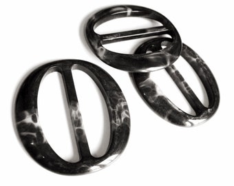 Large Resin Belt Buckle - Black and Grey Oval belt or bag buckle 2.5 inches