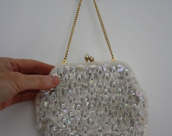 Vintage 1960s White Beaded and Sequin Evening Bag
