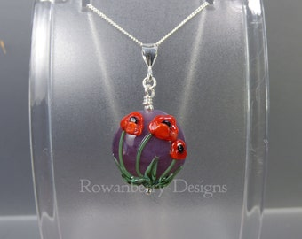 Poppy Pendant and Chain - Art Nouveau Handmade Lampwork Glass & 925 Sterling Silver - Rowanberry Designs SRA - Art- PP3