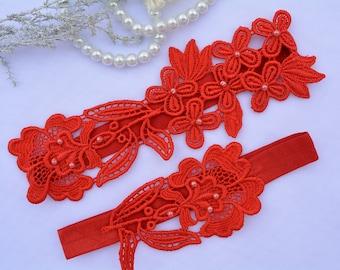 Wedding Garter, Red Garter Set, Lace Garter Set, Lingerie Garter, Garter Set Red, Red Garter, Valentine's Garter, Keep Garter, Bridal Gift