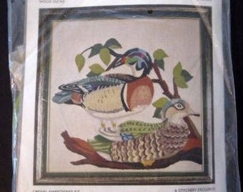"Vintage Crewel Embroidery Kit Wood Ducks 1975 The Stitchery #84-206 15""x15"""
