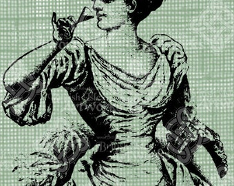 Digital Download Victorian Lady Drinking, Antique Illustration, Vintage drawing, digi stamp, digis, digital stamp, Gibson Girl