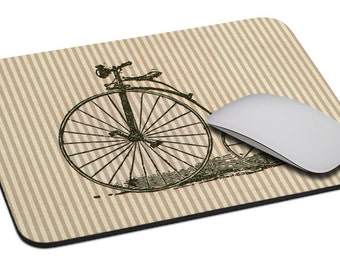 Bicycle (velocipede) - Mouse Pad - Soft Fabric Top - Heavy duty natural rubber backing - Custom made