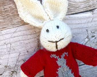 Bunny Rabbit Toy named Charlie Hand Knitted with Red  Jumper with a Grey Bunny Design