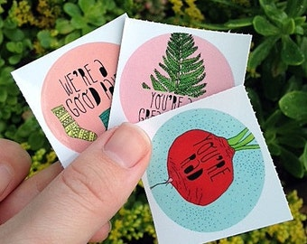 Pack of 6 Illustrated Stickers - Say Something Nice - Vinyl Stickers