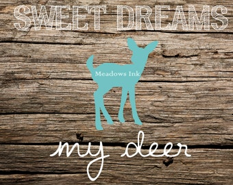 Aqua Deer Nursery Print, printable wall art decor 8x10 and 4x6 - instant download digital JPEG