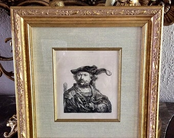 Sale Antique Etching ca.17th Century Rembrandt van Rijn Self Portrait Signed in Plate Framed Art Amand Durand?