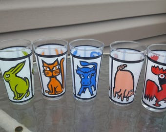 Set of 5 Vintage Made in France Animal Tumblers