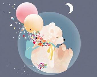 LARGE Baby Nursery Bear Art Print  - 'Sky Bear' by Schmooks