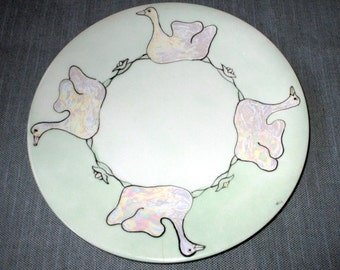 Union Ceramique Limoges Hand-Painted Plate, Green with Luster Ducks, 1913, 8.5-inch