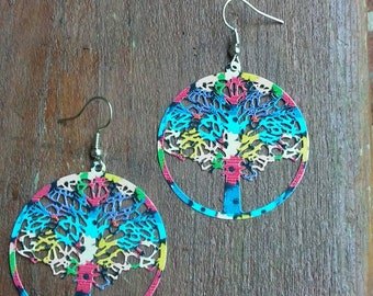 Rainbow Tree of Life Earrings, Tree of Life Earrings, Tree of Life Jewelry, Tree of Life earrings, Tree of Life