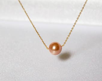 Gold Peach Single Pearl Necklace//Floating Pearl Necklace//Elegant Pearl Necklace//Simple Pearl Necklace//Single Pearl Necklace// Dainty