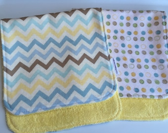 Blue Chevron and Bubbles Burp Cloths