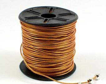Metallic Light Brown Leather Cord, 0.5mm, Lead Free, Round Leather Cord, Genuine Leather Cord, RETAIL - 1 YARD/order