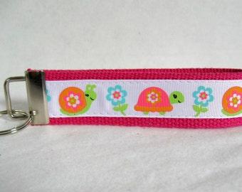 Turtle Key Fob - PINK Snail Key Chain -  Wrist Style Key Chain - Spring Key Chain
