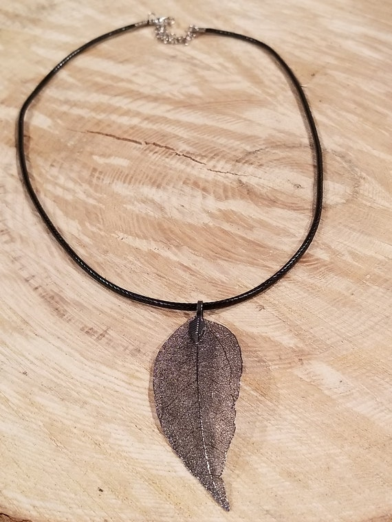 Dark Metal Dipped Walnut Leaf Necklace Outdoor Rustic Earth Boho Nature Earth Collection (N402)