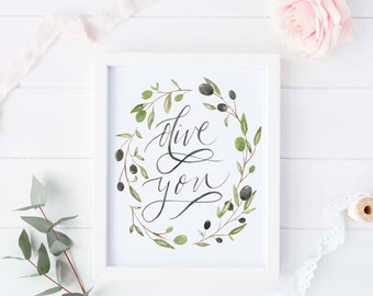 Olive you print, Olive branch wreath, Olive branch watercolor, Cute boyfriend gifts, Cute girlfriend gifts