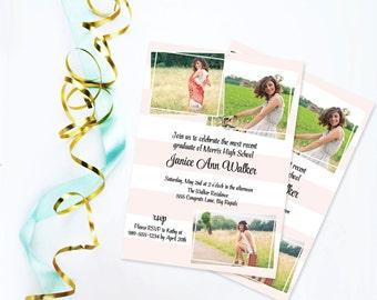 Striped Graduation Invitation, 2015 Graduate, Graduation Open House Party, High School Graduation Photos, College Graduation Invite