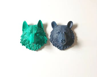 Set of 2, Small Bear + Wolf, Small Faux Taxidermy animal head wall mounts, Small Animal Head, Mini Animal Head, Animal Head Set,
