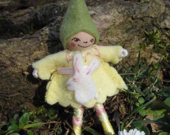 Easter Pixie in Yellow Art Doll Pin