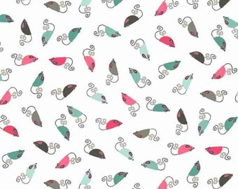White Mice Cotton Fabric, White Cats Mice Fabric by Makower from the Cats Collection, Pure Cotton Fabric