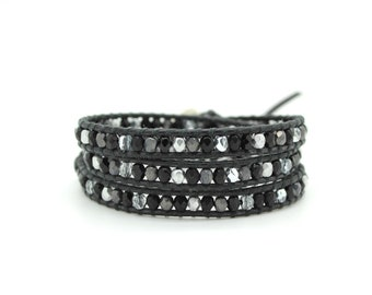 Black and Silver Mix Wrap on Black Leather