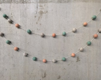 Sage Peach Oatmeal Felt Ball Garland - Nursery Playroom Party Decor Bunting Aqua Teal Cream