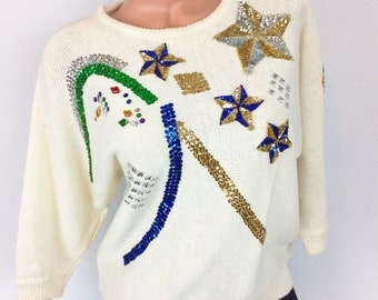 VTG sequined sweater 80s 90s pullover size Small Gitano throwback retro sweater