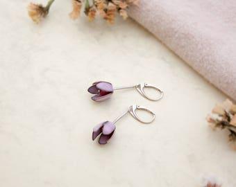 Pink enamel earrings, pink flower earrings, Enamel jewelry, Enameled copper earrings, pink pearl earrings, pink jewellery, pearl jewelry