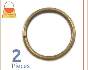 "2 Inch Antique Brass / Bronze O Rings, 2 Pack, Handbag Purse Bag Making Hardware Supplies, 2"", Two Inch, RNG-AA176"