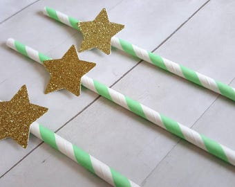 12 Star Paper Straws Twinkle Twinkle Little Star Decor Twinkle Star Mint Mint Gold Baby Shower Twinkle Twinkle Little Star Birthday
