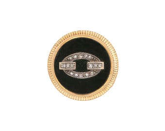 Gold button 750 thousandths, onyx and pink