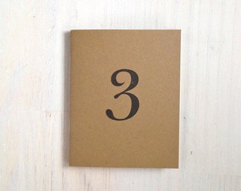 Medium Notebook: 3, Wedding Notebook, Birthday, Number, Table Number, Wedding, Favor, Journal, Blank, Unlined, Unique, Natural, Notebook