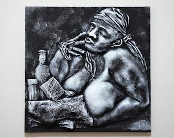 "Bas relief 3d wall sculpture ""HALVA"",white, black  23,5 x 23,5 In, handmade"