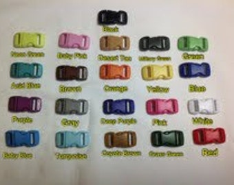 "10 pcs. Plastic Colored 3/8"" Side Release Buckles for Paracord Bracelets"