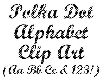 Alphabet Clipart, Polka Dot Alphabet Clip Art, Polka Dot Letters and Numbers Clip Art, Instant Download - DIMAGE0031
