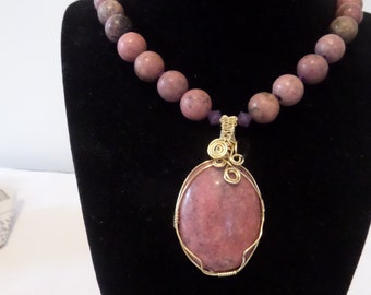 Wire wrapped Rhodonite pendant necklace