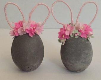 Cement Eggs- Bunny- Easter Decor- Cement Easter Egg- Bunny Decor- Cement Bunny