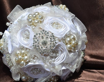 Elegant wedding bouquet with brooches pearls, True White