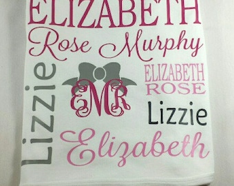 Personalized / Monogrammed baby name blanket bow