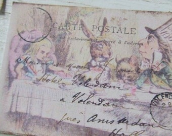 Alice in Wonderland notecards - Alice notecards - shabby cottage style notecards - mad hatter - notecard embellishments - scrapbooking