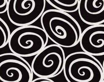 Graphic design spiral black ivory Miller fabric