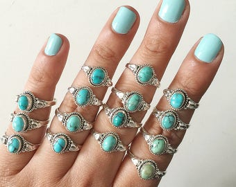 Rings * Turquoise Ring * Boho * Jewelry * Turquoise * Anniversary Gift * Gift for her * Sterling Silver Ring * Gift * Handmade * Birthstone