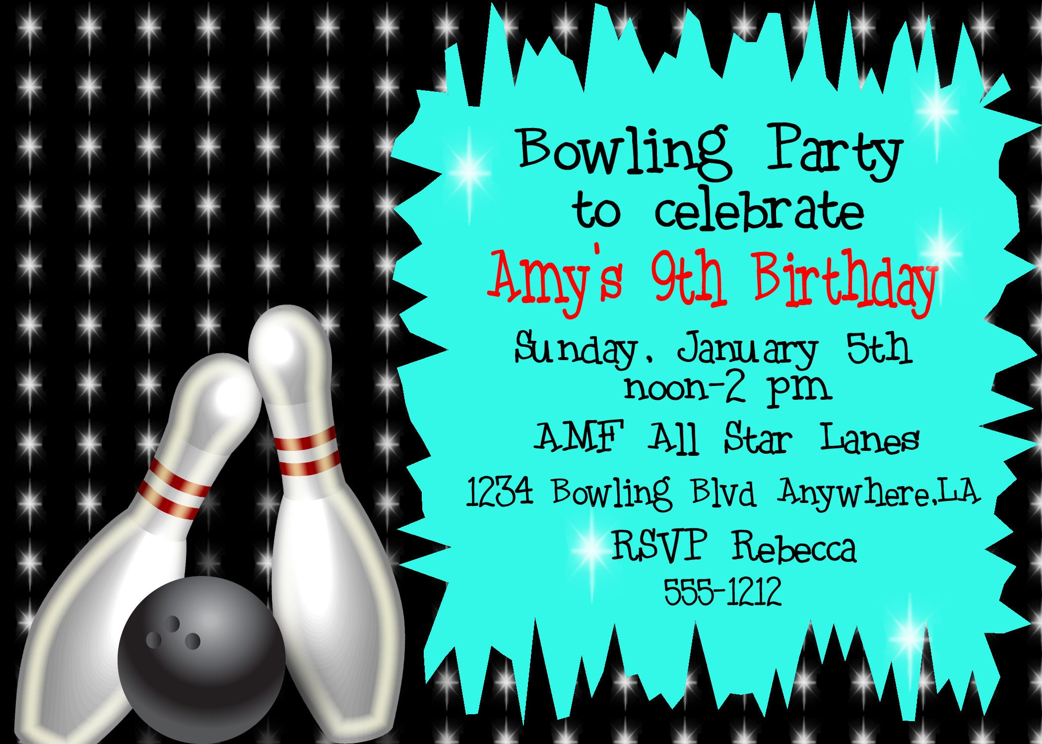 Printable bowling party invitation Bowling party invitation