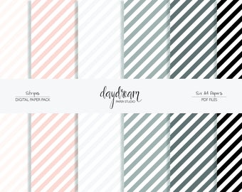Diagonal Stripe Digital Paper   Printable Scrapbook Paper   Black and White Stripe Paper   A4 Paper Set   Scrapbooking Paper Pack   Paper